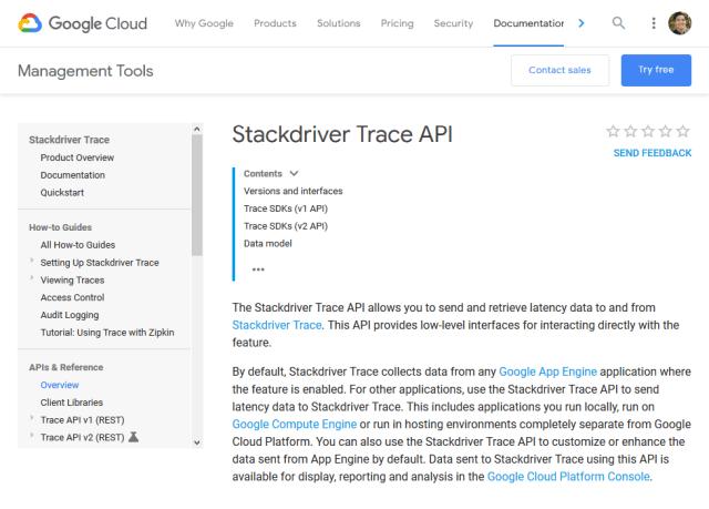 Google Cloud Stackdriver Trace Rest API