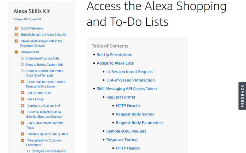 Amazon Alexa Shopping and To Do List API
