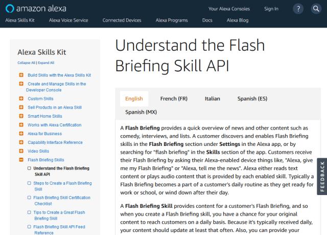 Amazon Alexa Flash Briefing Skill API
