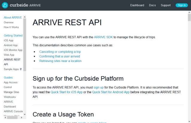 Curbside Arrive API