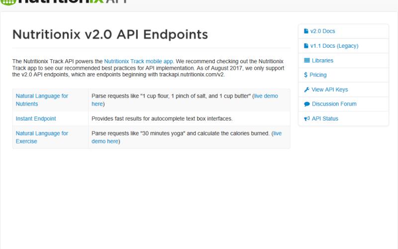 The Nutritionix Track API