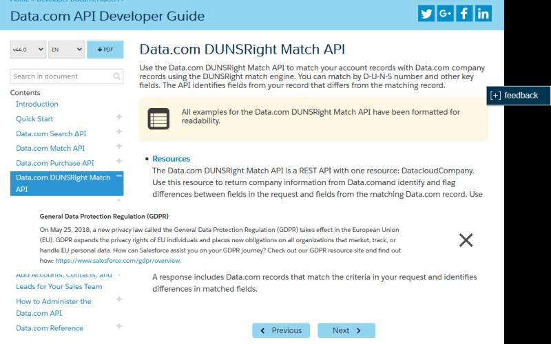 Salesforce.com Data.com DUNSRight Match API