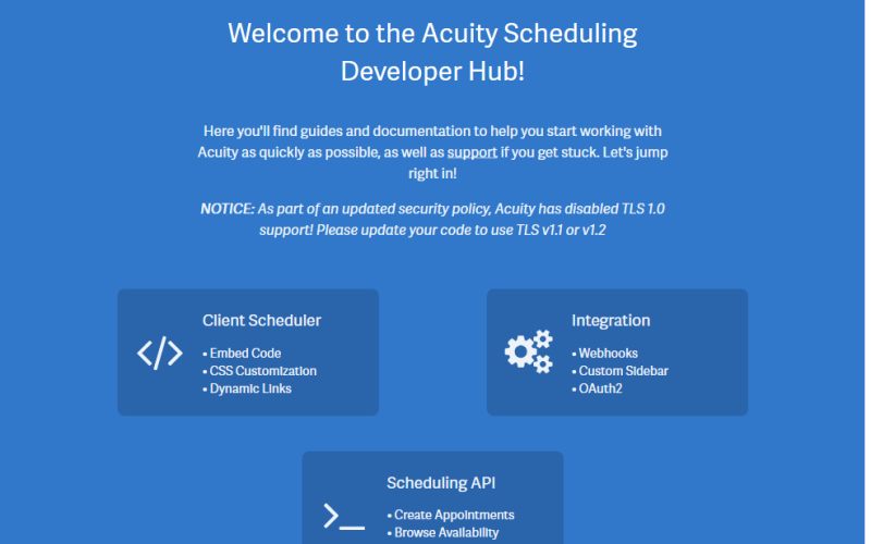 Acuity Appointment Scheduling API