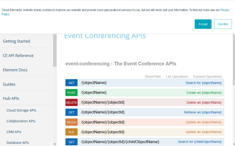 Cloud Elements Event Conferencing Hub API