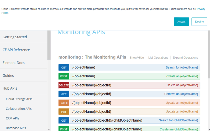 Cloud Elements Monitoring Hub API