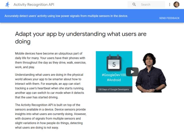 Google Activity Recognition API