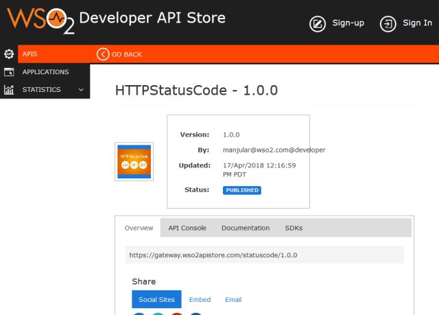 Wso2 Api Cloud Http Status Code API