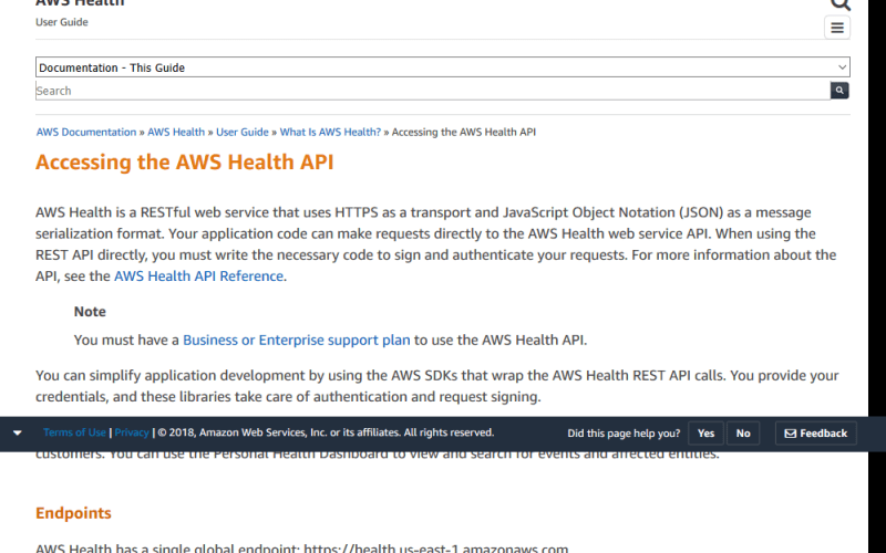 Amazon Web Services Health API