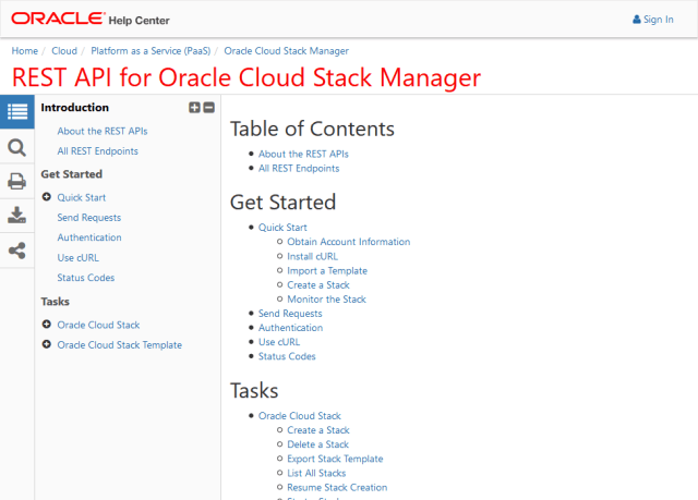 Oracle Cloud Stack Manager API