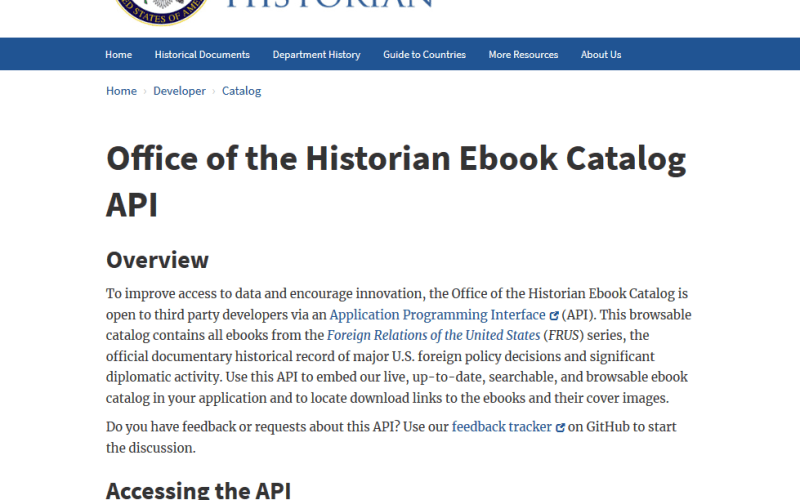 U.S. Department of State Office of the Historian Ebook Catalog API