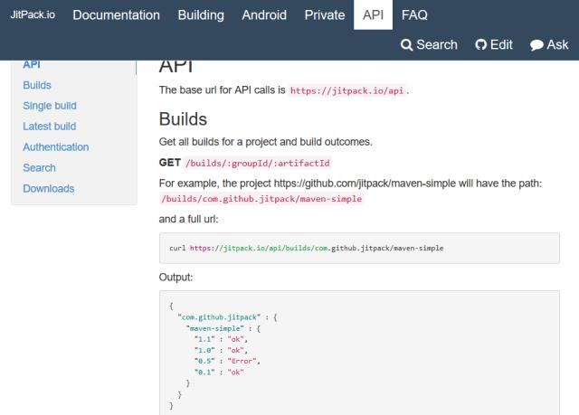 Jitpackio API