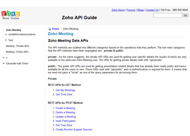Zoho Meeting API