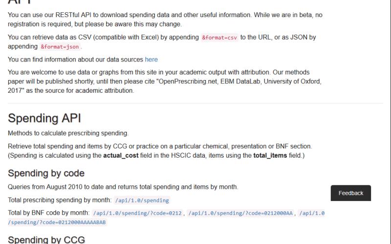 OpenPrescribing API