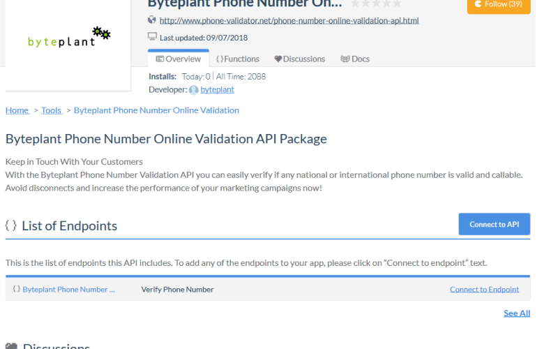 Byte Plant Phone Number Validation API