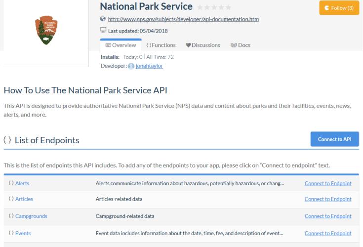 National Park Service NPMap API