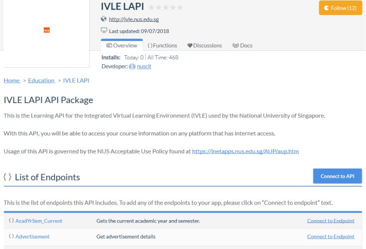 National University of Singapore Integrated Virtual Learning Environment API