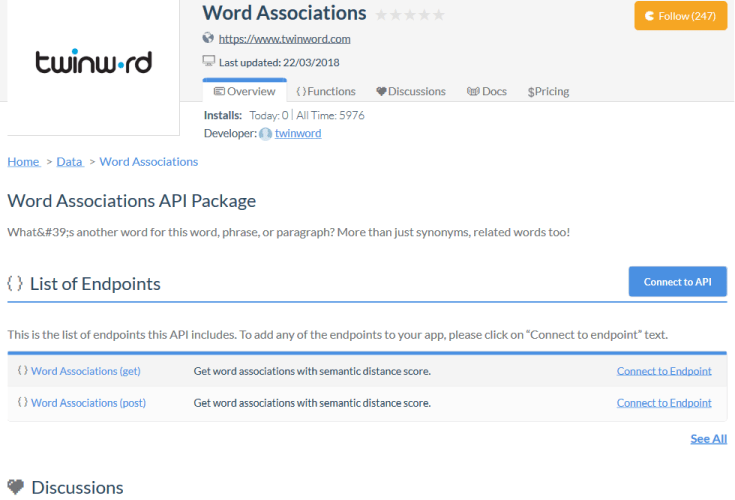 Twinword Word Associations API