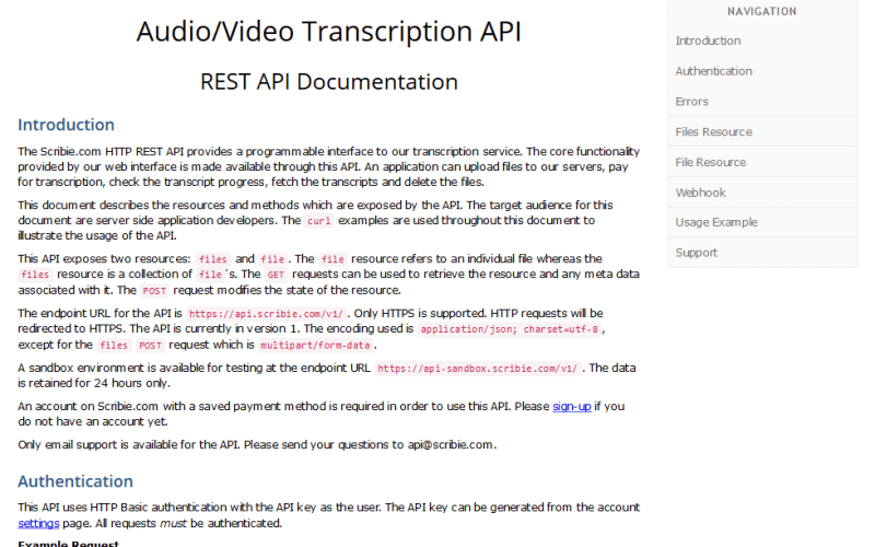 Scribie Audio and Video Transcription API