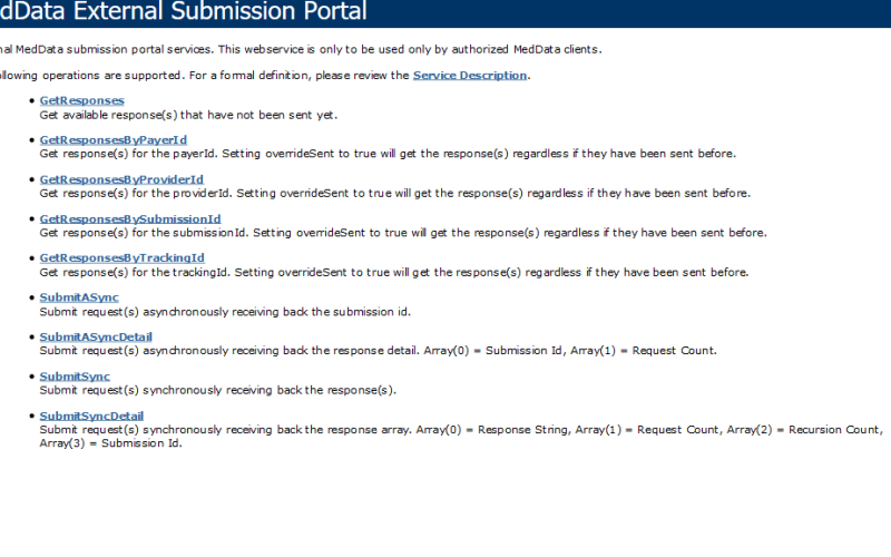 TransUnion MedData External Submission Portal API