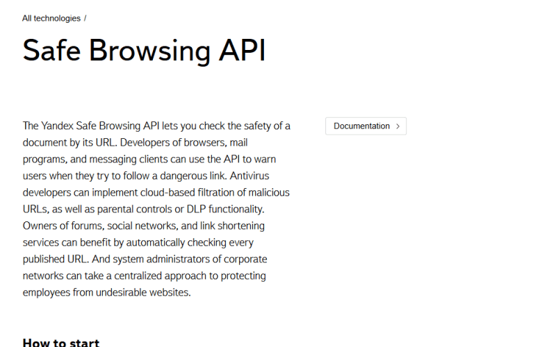 Yandex Safe Browsing API