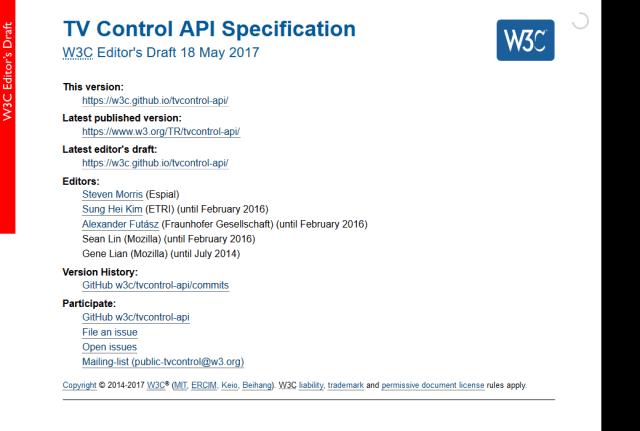 W3C Tv Control Specification API
