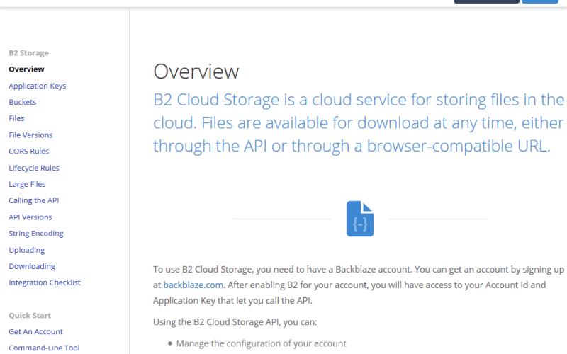 Backblaze B2 Cloud Storage API