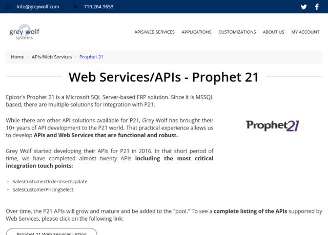 Prophet 21 API