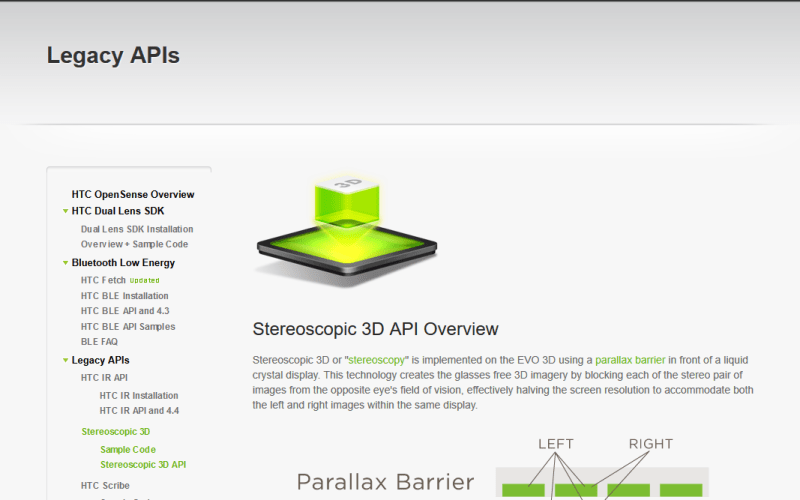 HTC Stereoscopic 3D API