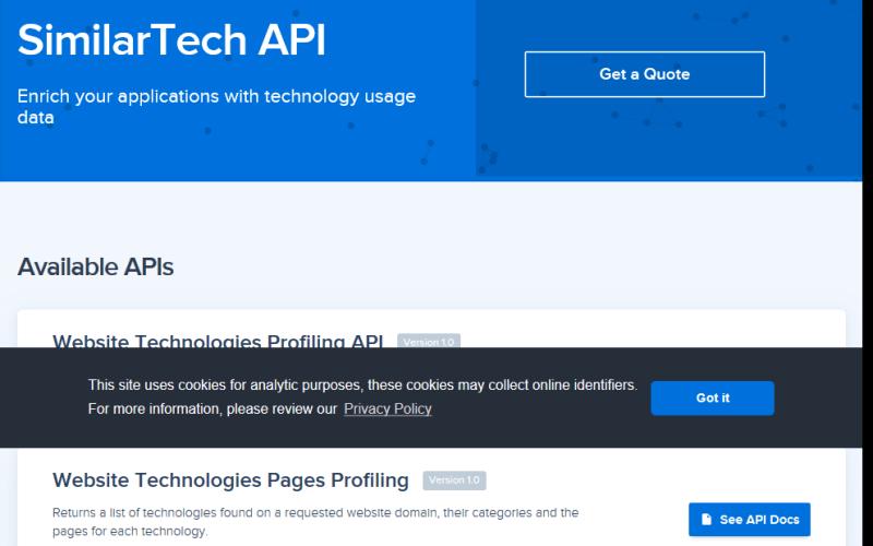 SimilarTech Website Technologies Profiling API