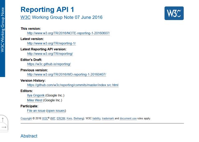 W3C Reporting API
