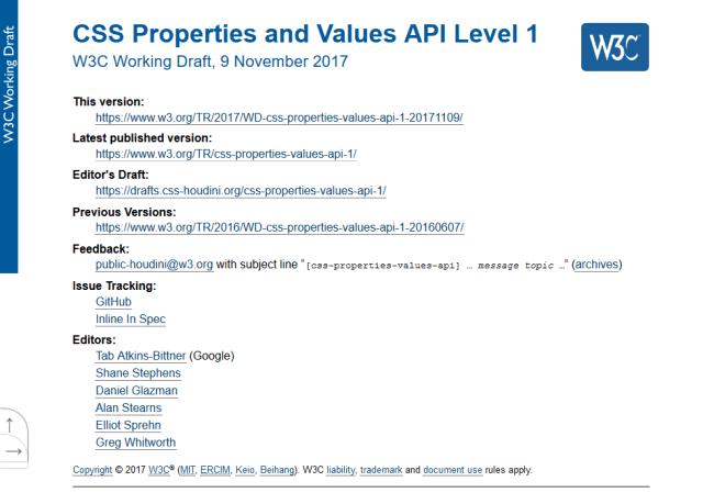 W3C Css Properties And Values API