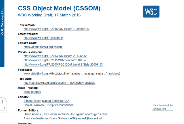 W3C Css Object Model API