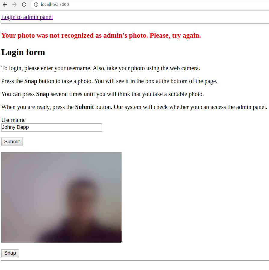 facial recognition failed login test