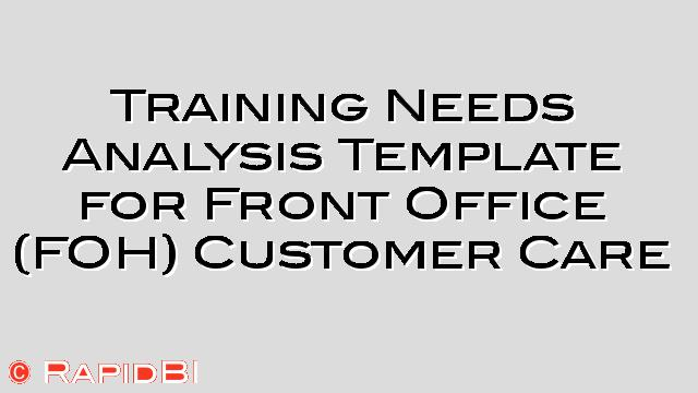 Training Needs Analysis Template for Front Office Staff