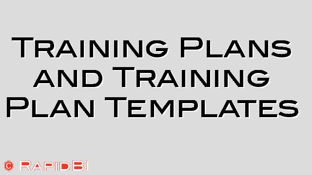 Sample Training Plans and Training Plan Templates