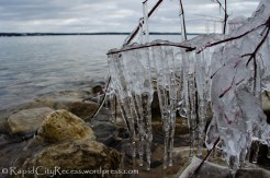 Icicles perched above Torch Lake