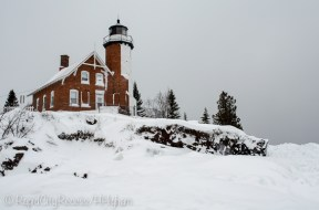 Eagle Harbor Lighthouse, as seen from the ice