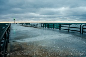 ice-covered pier