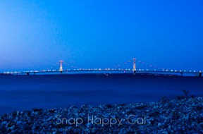 Mackinac Bridge with lights