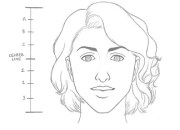 draw female face in 8