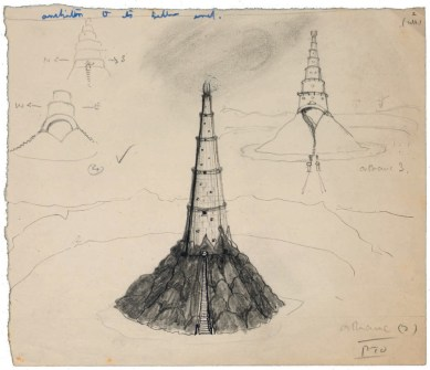 An early, three-part sketch of Saruman's tower Orthanc, at Isengard.