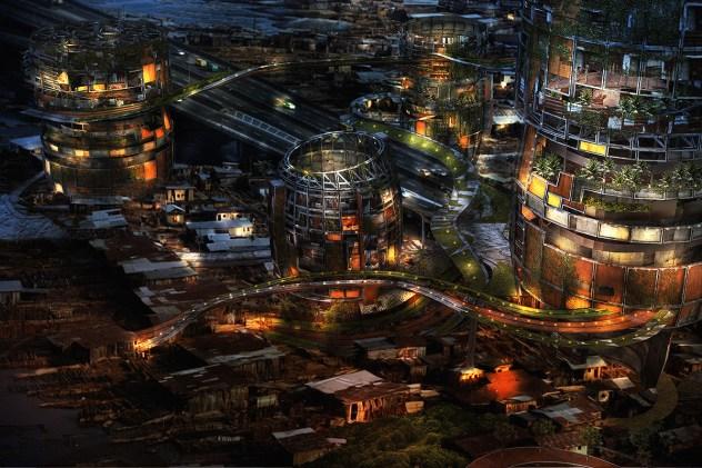 Makoko Nighttime Aerial