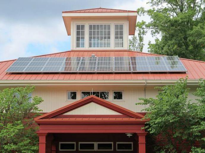 solar panels on the roof