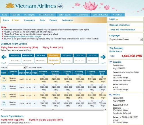Vietnam Airlines SGN-HUE