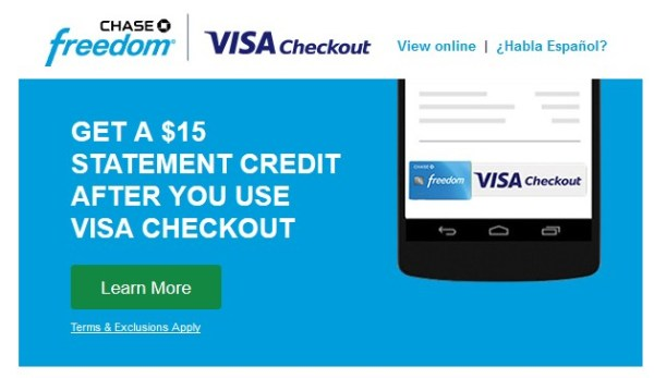 Chase Freedom Visa Checkout