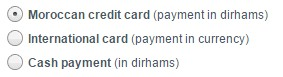 Royal Air Maroc Domestic Site Payment Options