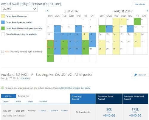 Air New Zealand AKL-LAX July 2016