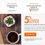 Activate Discover Oct-Dec 2016 5% Cashback: Amazon, Department Stores and Sam's Club