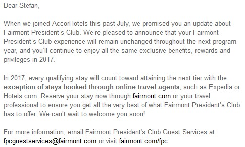 Fairmont Presidents Club Update November 2016