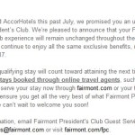 Accor Laying Their Hands Off Fairmont President's Club for 2017